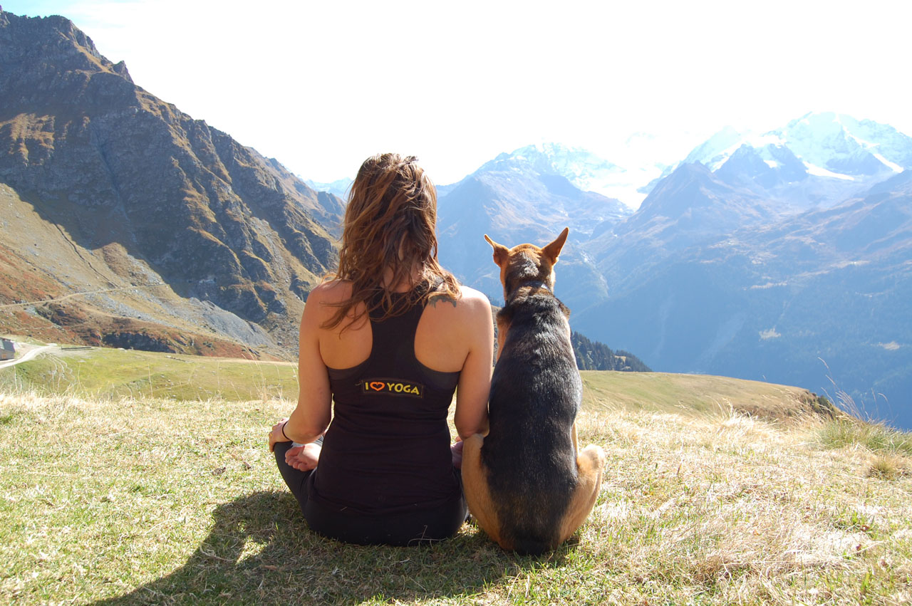 Animal lover Sarah Cullen and Dexter enjoying some quality time together above Verbier